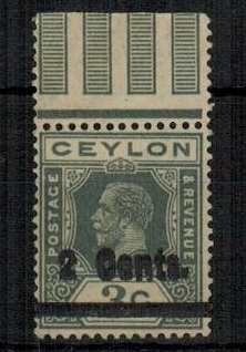 CEYLON - 1926 2c on 3c slate grey mint with OVERPRINT DOUBLE.  SG 361a.