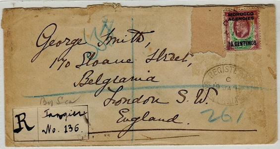MOROCCO AGENCIES - 1911 registered cover to UK (stamp missing) with