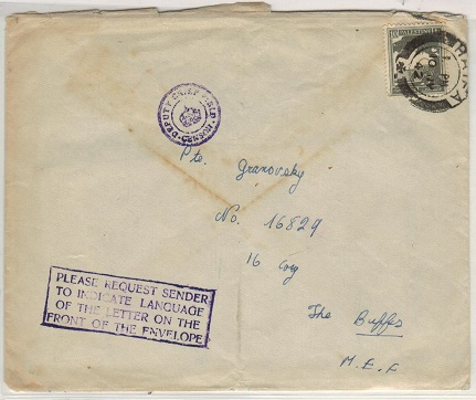 PALESTINE - 1942 censor cover to MEF with