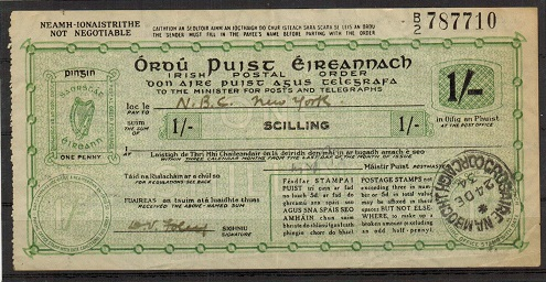 IRELAND - 1934 issued 1/- black and green on cream POSTAL ORDER.