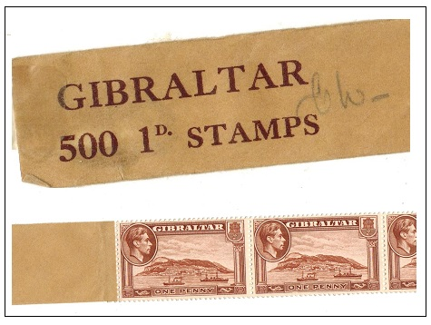 GIBRALTAR - 1940 1 1/2d yellow brown complete COIL of 500 stamps.  SG 122ab.