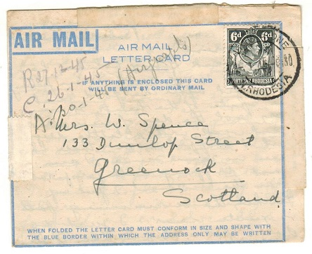 NORTHERN RHODESIA - 1944 6d rate use of FORMULA air letter card to UK used at LIVINGSTONE.