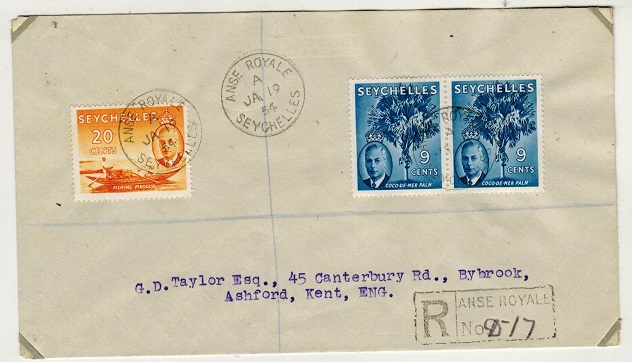 SEYCHELLES - 1954 38c rate registered cover to UK used at ANSE ROYALE.