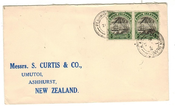PENRYHN - 1937 1/2d Cook Island pair tied on cover to New Zealand by PENRYHN ISLAND cds.