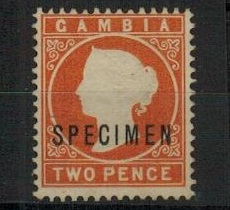 GAMBIA - 1886 1/2d deep orange