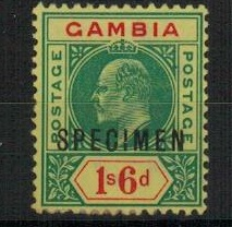 GAMBIA - 1902 1/6d green and red on yellow mint  with SPECIMEN applied in  black. SG 53.