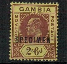 GAMBIA - 1902 2/6d purple and brown on yellow mint  with SPECIMEN applied in  black. SG 55.