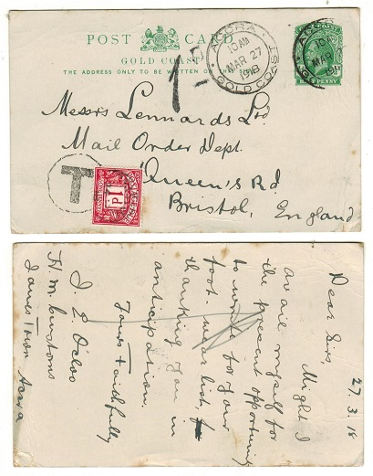 GOLD COAST - 1916 1/2d green PSC underpaid to UK used at ACCRA with