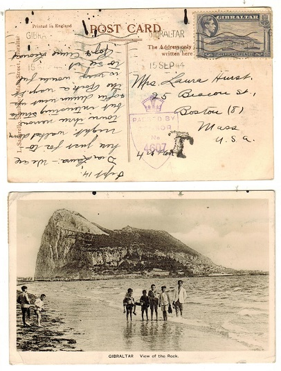 GIBRALTAR - 1944 1 1/2d rate underpaid censored postcard to USA.