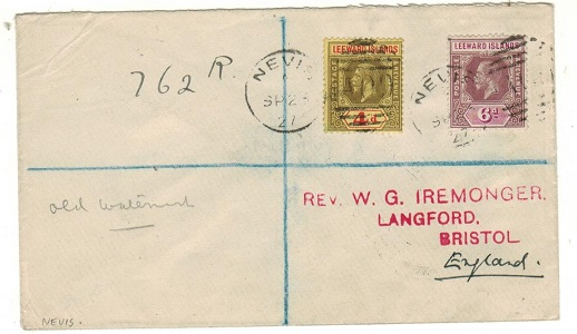 ST.KITTS - 1927 10d rate registered cover to UK used at NEVIS.