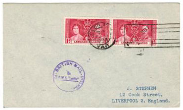 LEEWARD ISLANDS - 1938 TOULON PAQUEBOT cover.