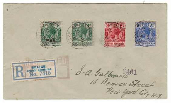 BRITISH HONDURAS - 1916 9c registered rate cover to USA with