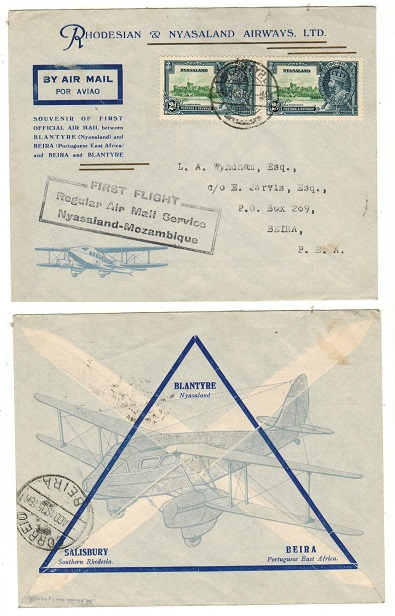 NYASALAND - 1935 first flight cover to Beira used at BLANTYRE.