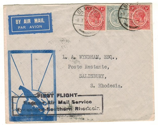NYASALAND - 1934 first flight cover to Southern Rhodesia used at BLANTYRE.