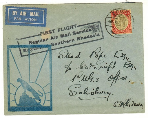 NYASALAND - 1934 first flight cover to Southern Rhodesia used at ZOMBA.