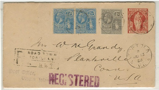 BRITISH VIRGIN ISLANDS - 1901 1d red-brown PSE uprated for registered use to USA at TORTOLA.