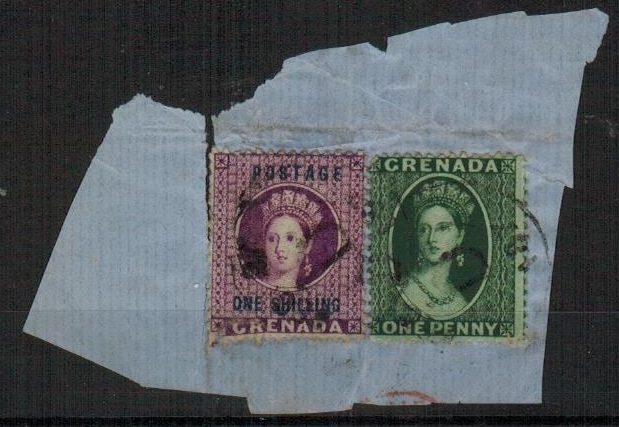 GRENADA - 1870 piece bearing 1d green and