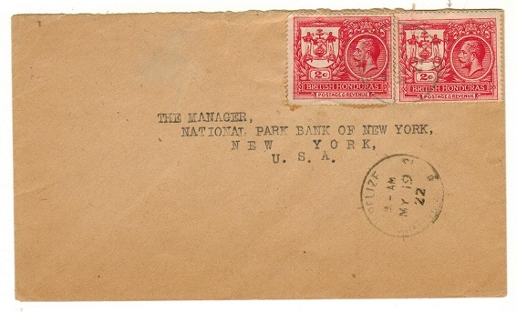 BRITISH HONDURAS - 1922 4c rate cover to USA used at BELIZE.