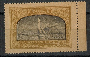 TONGA - 1897 2/- black and dull yellow-olive (SG type 21) mint FORGERY.