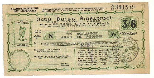 IRELAND - 1950 issued 3/6d green and black IRISH POSTAL ORDER.