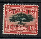 TONGA - 1899 1d black and scarlet