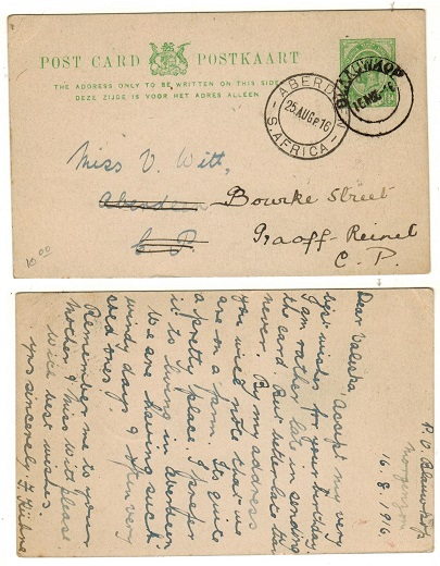 SOUTH AFRICA - 1916 1/2d green PSC use to Aberdeen used at BLACCUWKOP.