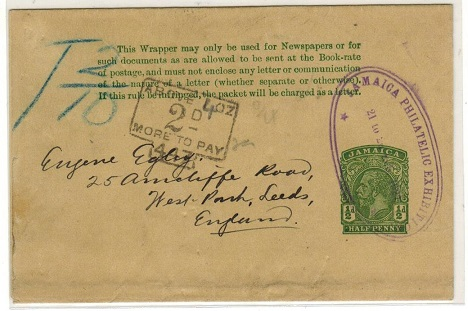 JAMAICA - 1912 1/2d green underpaid postal stationery wrapper to UK used at EXHIBITION. H&G 3.