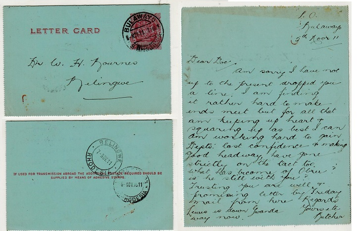 RHODESIA - 1903 1d carmine postal stationery letter card used locally.  H&G 1.
