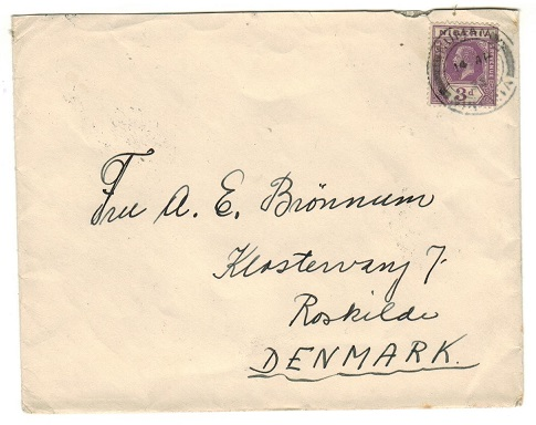 NIGERIA - 1925 3d rate cover to Denmark used at NUMAN.
