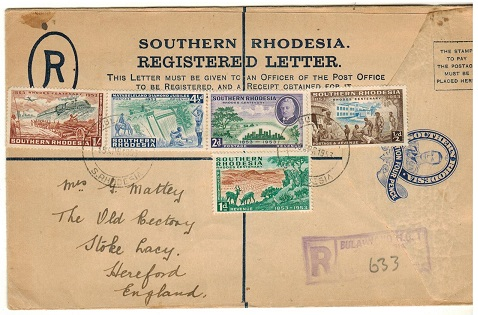 SOUTHERN RHODESIA - 1937 4d ultramarine RPSE (scarce 5 lined) used to UK.  H&G 6.