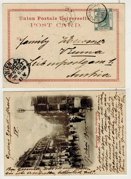 HONG KONG - 1900 4c rate postcard use to Austria.