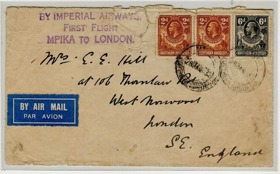 NORTHERN RHODESIA - 1932 first flight cover from Mpika to London.