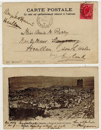 BRITISH LEVANT - 1904 1d (GB) rate (un-overprinted) postcard use to UK from CONSTANTINOPLE.