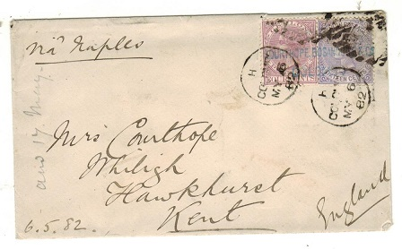 CEYLON - 1882 20c rate cover to UK used at COLOMBO.