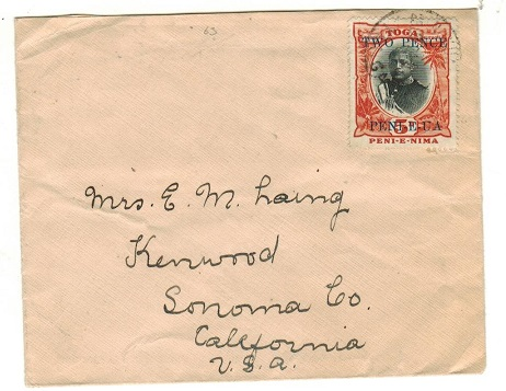 TONGA - 1924 2d on 5d surcharge cover to USA used at NUKUALOFA/TONGA.