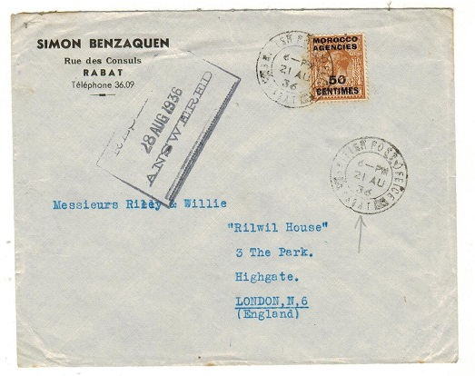 MOROCCO AGENCIES - 1936 50c on 5d rate cover to UK used at BPO/RABAT.