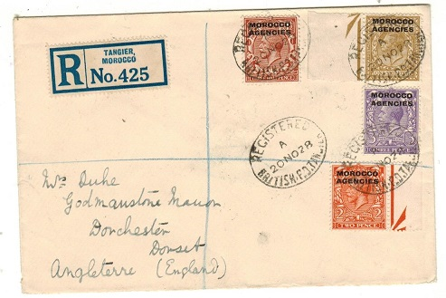MOROCCO AGENCIES - 1928 multi-franked British Zone registered cover to UK used at BPO/TANGIER.