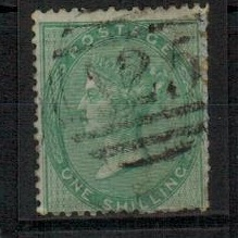 MALTA - 1862 1/- green (no plate) adhesive of GB cancelled by