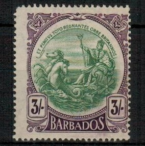 BARBADOS - 1920 3/- green and bright violet fine mint.  SG 200a.