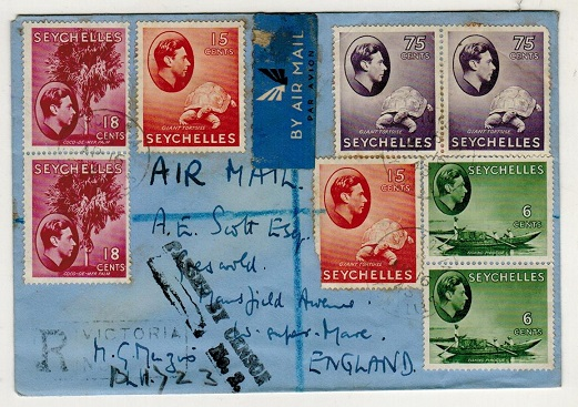 SEYCHELLES - 1943 multi franked registered