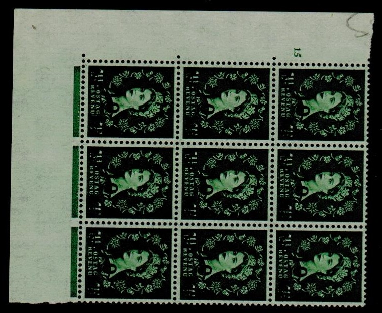 BR.P.O.IN E.A. - 1961 10np on 1 1/2d green U/M PALTE 15 block of nine.  SG 83.