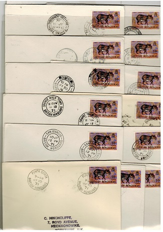 BRITISH HONDURAS - 1971 range of 13 covers to UK from differing Post Offices.