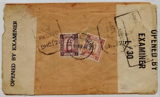 MALDIVE ISLANDS - 1944 8c rate censored cover to India.