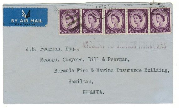 BRITISH HONDURAS - 1960 cover from UK to Bermuda with