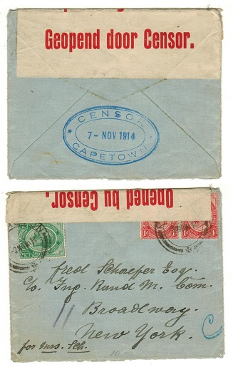 SOUTH AFRICA - 1914 2 1/2d rate censored cover to USA with CENSOR/CAPETOWN h/s applied on reverse.