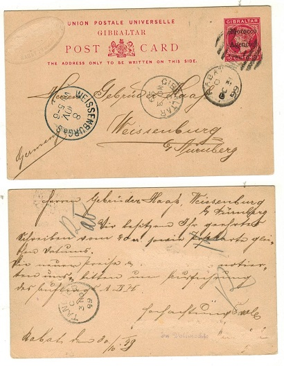 MOROCCO AGENCIES - 1898 10c carmine PSC to Germany used at RABAT.  H&G 8.