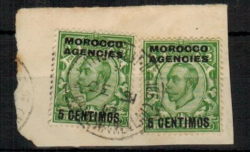 MOROCCO AGENCIES - 1912 5c on 1/2d (x2) tied to piece by MARRAKESH/(MELLAH)