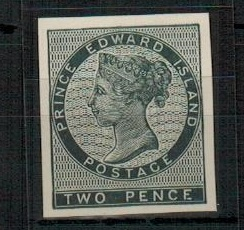 PRINCE EDWARD ISLAND - 1912 (circa) RPS reprinted 2d IMPERFORATE PLATE PROOF in black.