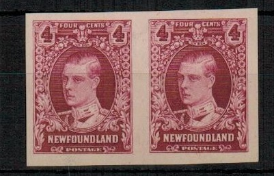 NEWFOUNDLAND - 1929 4c IMPERFORATE PLATE PROOF pair on ungummed cream paper.
