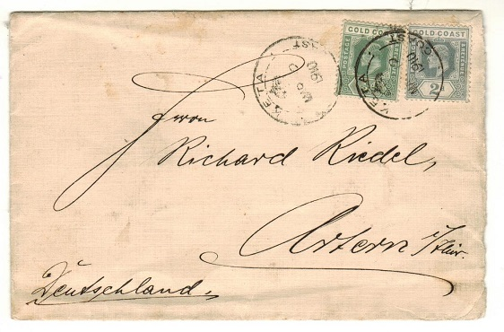 GOLD COAST - 1910 2 1/2d rate cover to Germany used at KETA.